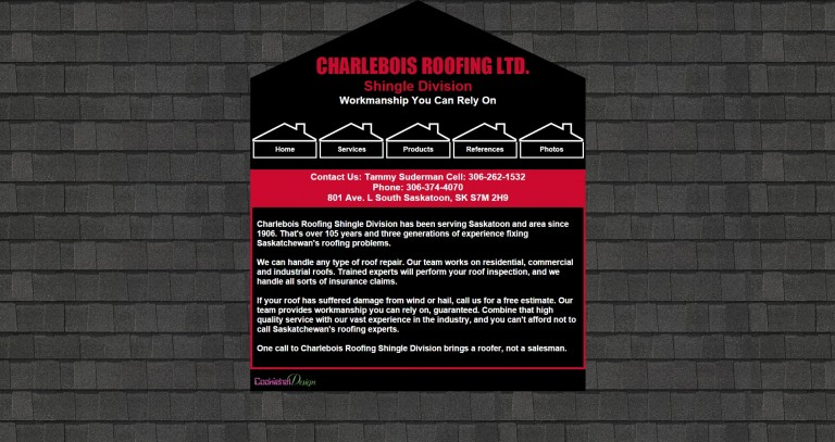 Charlebois Roofing Shingle Division Website
